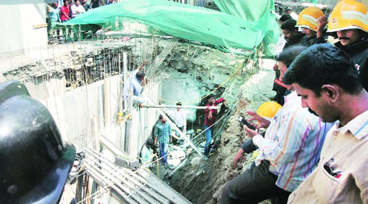 mumbai, wall collapse, mumbai wall collapse, Mumbai Metropolitan Region Development Authority, MMRDA, MMRDA rehabilitation building, MMRDA, rehabilitation building, mumbai news
