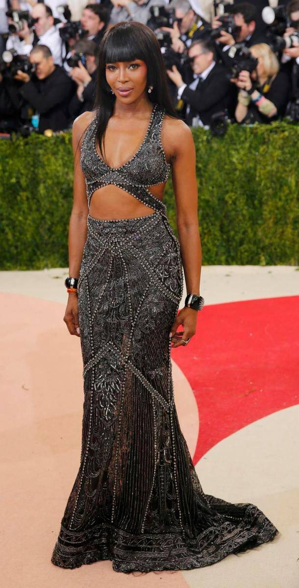 Model Naomi Campbell arrives at the Met Gala in New York