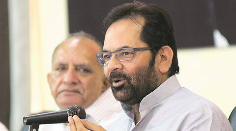 Union Minister Mukhtar Abbas Naqvi  Adressing the Press Conferance at BJP Office in Jaipur on Friday. Express photo by Rohit Jain Paras 27.05.2016