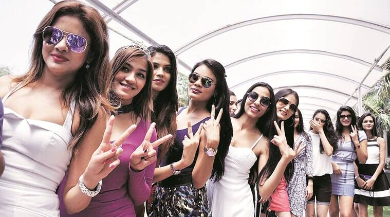 Models Showcasing NIIFT students collection during a conference regarding Anukama 2016 in one of the hotel in sector 10 Chandigarh on Sunday, May 22 2016. Express Photo by Sahil Walia