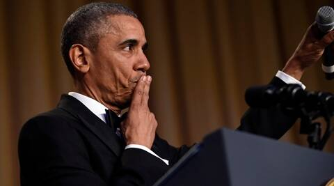 President Barack Obama concludes his remarks after speaking at the annual White House Correspondents' Association dinner at the Washington Hilton in Washington, Saturday, April 30, 2016. (AP Photo/Susan Walsh)