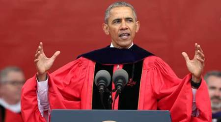 President Barack Obama delivers the commencement address at Rutgers University Sunday, May 15, 2016 in Piscataway, N.J (AP Photo/Mel Evans)
