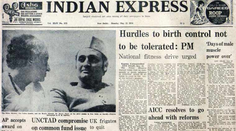 family planning, congress, indira gandhi, aicc, forty years ago, indian express front page, india news, history