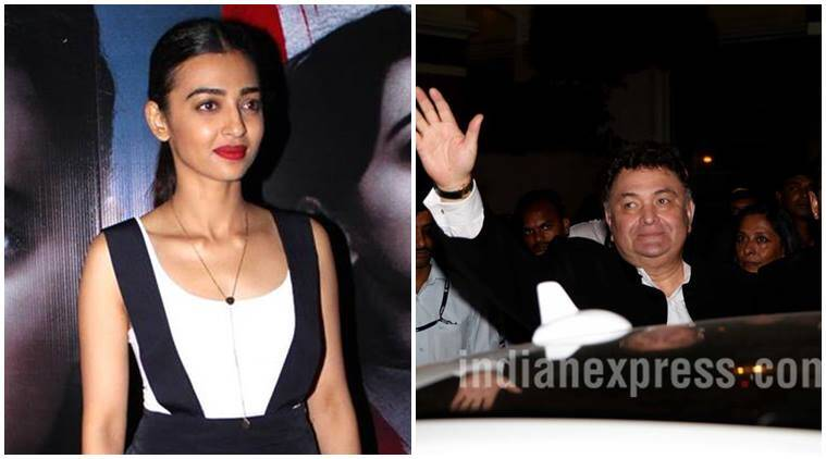 Rishi Kapoor, Radhika Apte, Rishi Kapoor news, Rishi Kapoor tweet, Rishi Kapoor updates, Radhika Apte news, Radhika Apte film, Radhika Apte updates, Radhika Apte tweet, entertainment news