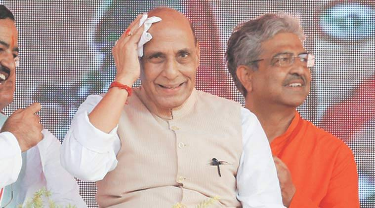 Rajnath Singh in Saharanpur. (Express Photo by Anil Sharma)