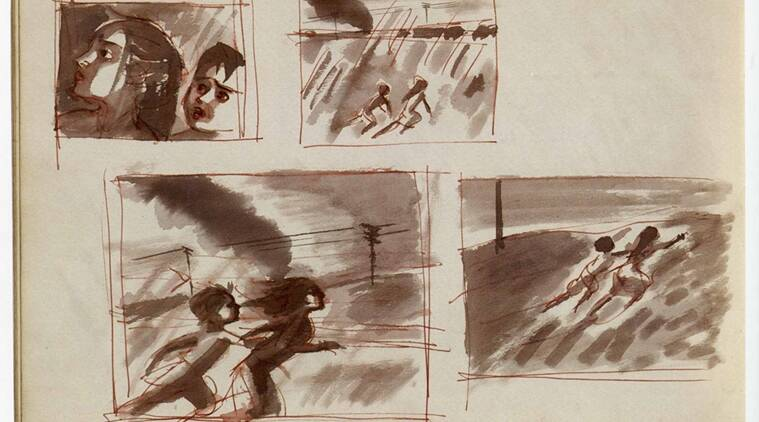Between the lines: Ray's sketch of the train sequence.