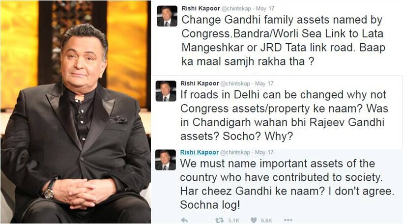 Kapoor recently stirred a hornet's nest on social media Twitter when he attacked the Congress party and the Gandhi family