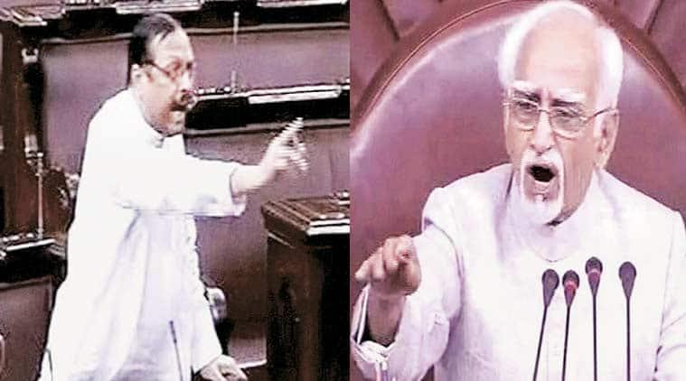 Roy and Ansari in Rajya Sabha on Monday. (TV grab, PTI)