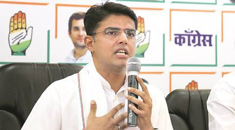 Former Ajmer MP and Congress member, Sachin Pilot address the press in Mumbai and slams the policies adopted by Modi Govt. 26th May 2016, Gandhi Bhavan, Girgaon, Mumbai. Express photo by Nirmal Harindran, Mumbai.