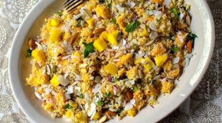 Tonight, have this healthy Mango Couscous salad with nuts andseeds