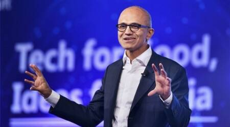 RPT:New Delhi:  Microsoft CEO Satya Nadella delivering keynote address at the company's  'Tech For Good, Ideas for India' event in New Delhi on Monday. PTI Photo by Shahbaz Khan(PTI5_30_2016_000063B)
