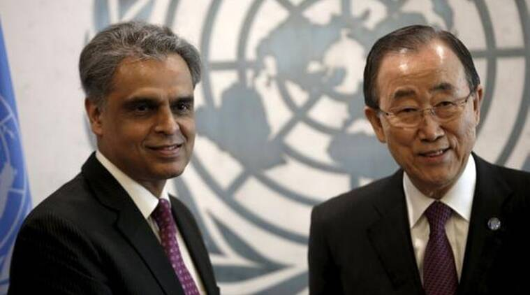 Ambassador Syed Akbaruddin (L), Permanent Representative of India to the United Nations, poses with United Nations Secretary General Ban Ki-moon after presenting his credentials to Ban at UN headquarters in New York. (Source: Reuters/File)