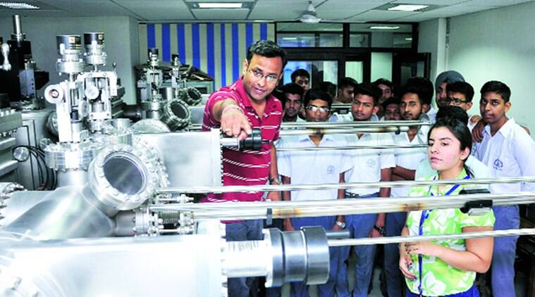 Students visit a science lab on National Technology Day in Sector 30, Chandigarh, on Wednesday. Sahil Walia