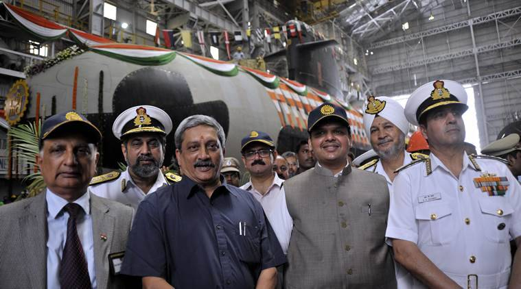 Union Defence Minister, Manohar Parrikar, Maharashtra Chief Minister, Devendra Fadnavis, Chief of Naval staff, Admiral RK Dhowan, Vice Admiral, Surinder Pal Singh Cheema and RK Shrawat, Chairman & Managing Director of Mazagon Dock Ltd. during the floating out of the first project 75 (Scorpene) Submarine on pontoon at Mazagon dock in Mumbai. Express Photo by Ganesh Shirsekar. 06.04.2015. Mumbai.