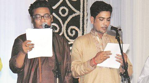 Indranil Sen (L) and Laxmi Ratan Shukla during taking oath . Express photo