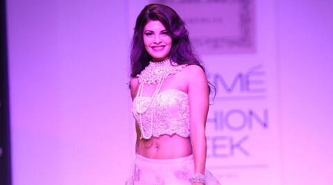Jacqueline Fernandez walks the ramp as showstopper for Shehlaa bu Shehla Khan at the LFW Winter Festive 2013 in Mumbai on Saturday, August 24, 2013. (Photo::: IANS)