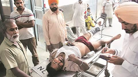 PRTC bus driver Harpreet Singh being treated at Rajendra hospital in Patiala after shot during road rage on Thursday, May 26 2016. Photo by Harmeet Sodhi