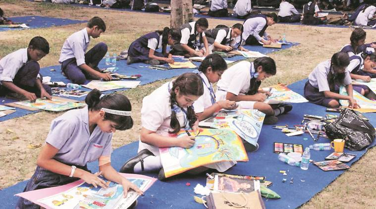 """File photo of Schoolchildren participating in Painting Competition on """"Chandigarh of My Dreams"""" under Smart City at Government Museum in Sector 10 of Chandigarh"""