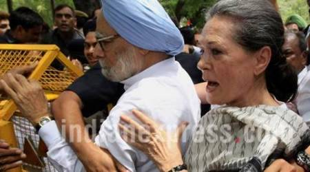 UPA chair person Sonia Gandhi with Former PM Manmohan Singh and A K Antony, jyotiraditya madhavrao scindia duing Loktantra Bachao march from Jnatar Mantar to parliament house at parlimaent street police Station in new Delhi on Friday express photo by Prem Nath Pandey 06 May 16