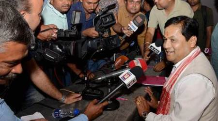 Guwahati: Union Minister and BJP's Assam chief ministerial candidate Sarbananda Sonowal talking to media persons in Guwahati on Tuesday. PTI Photo   (PTI5_17_2016_000124A)