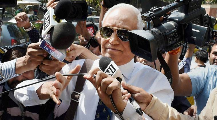 Former Air Chief Marshal SP Tyagi arriving at the CBI headquarters in New Delhi. PTI