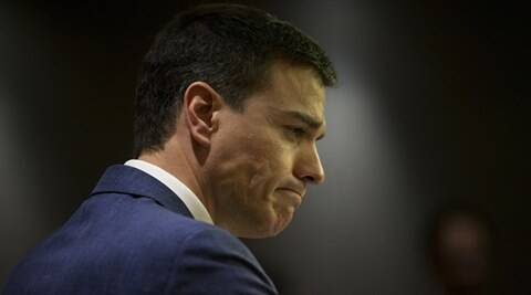 Spain's Socialist Party leader Pedro Sanchez listens to a question during a news conference after his meeting with Spain's King Felipe, at the Spanish parliament in Madrid, Tuesday, April 26, 2016.  King Felipe is wrapping up two days of talks with political party leaders in a last-ditch bid to break a four-month deadlock in finding a candidate capable of forming a government, but another election looks more likely. (AP Photo/Francisco Seco)