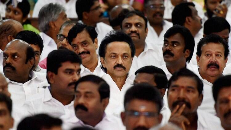 DMK Treasurer M K Stalin and a host of party colleagues attend AIADMK Supremo J Jayalalithaa's   swearing-in ceremony as Chief Minister of Tamil Nadu in Chennai on Monday. (Source: PTI)