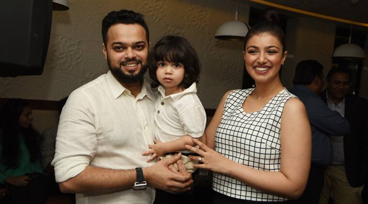 Ayesha Takia, her husband Farhan Azmi and her son Mikhail at the launch of Basilico in Mumbai.