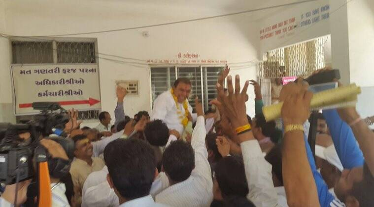 Govind Parmar after his victory, in Veraval on Thursday. Photo by Ravi Khakhar