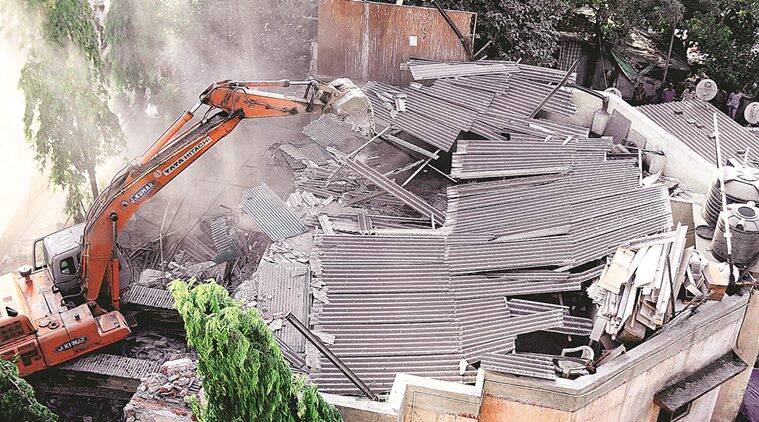 Thane Municipal Corporation, TMC, mumbai illegal construction, Jitendra Awhad's, TMC demolition, indian express mumbai, mumbai news