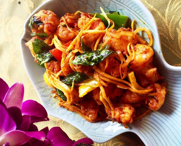 Amba Isso Temeradu, a Sri Lankan-style prawn stir fry with raw mango slivers at The Spice Route at The Imperial in New Delhi.