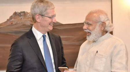 Apple, Tim Cook PM Modi, PM Modi meets Tim Cook, Apple CEO Tim Cook, Tim Cook Hyderabad Maps office, Modi Tim Cook, Apple CEO India visit, Apple CEO meets PM, technology, technology news