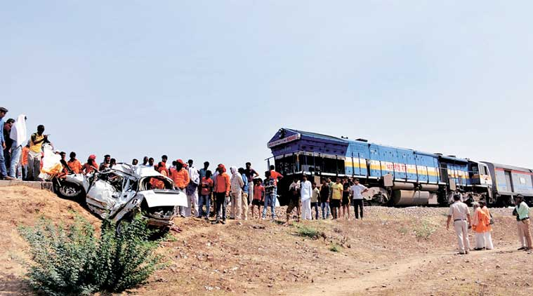 The car was dragged for about 400 m despite the driver applying emergency brakes. (Express Photo: Manoj Kumar)
