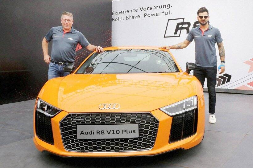 virat kohli launches audi r8 v10 plus priced rs cr sports gallery news the indian express. Black Bedroom Furniture Sets. Home Design Ideas