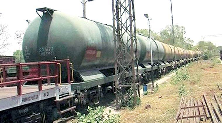 The water train in Jhansi. All its 10 wagons were filled with potable water on Friday. (PTI Photo)