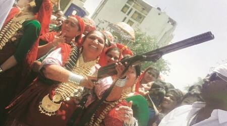 gujarat, ahmedabad news, ex MLA supporter booked, MLA wife booked, Porbandar gangster, Bhima Dula Odedra, Arms Act, indian express ahmedabad