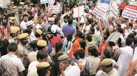 App based premium bus service scheme: Rai goes to ACB office as crowd gathers in support