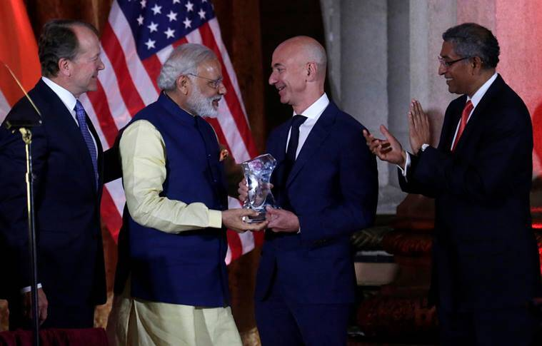 Modi, Jeff Bezos, Amazon, Narendra Modi in US, Modi in US 2016, Modi in US, Amazon India, Amazon to invest in India