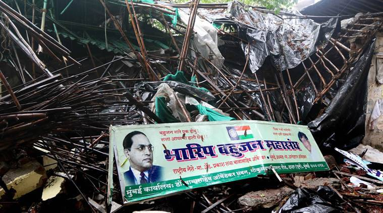 Ambedkar bhavana building was demolished last night Dr. Babasaheb Ambedkar's family was strongly opposed at Ambedkar Bhavan. Ambedkar's grandson Prakash Ambedkar has condemned the incident and Anandaraj visiting the area in Dadar on Saturday. Express Photo By-Ganesh Shirsekar 25/06/2016