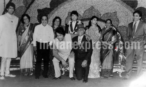 Kunal Goswami (extreme left), Shashi Goswmai, newly wed groom Rajiv Goswami with his bride, Manoj Kumar Amrish Puri at the wedding ceremony of Manoj's son Rajiv Goswami. Express archive photo