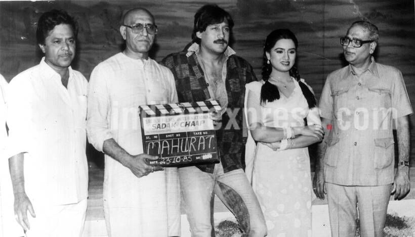Film Director Anil Ganguly, Amrish Puri, Jackie Shroff, Padmini Kolhapure and Nahata at the muhurat shot of film SADAK CHHAP. Express archive photo by Vinayak Gokhale
