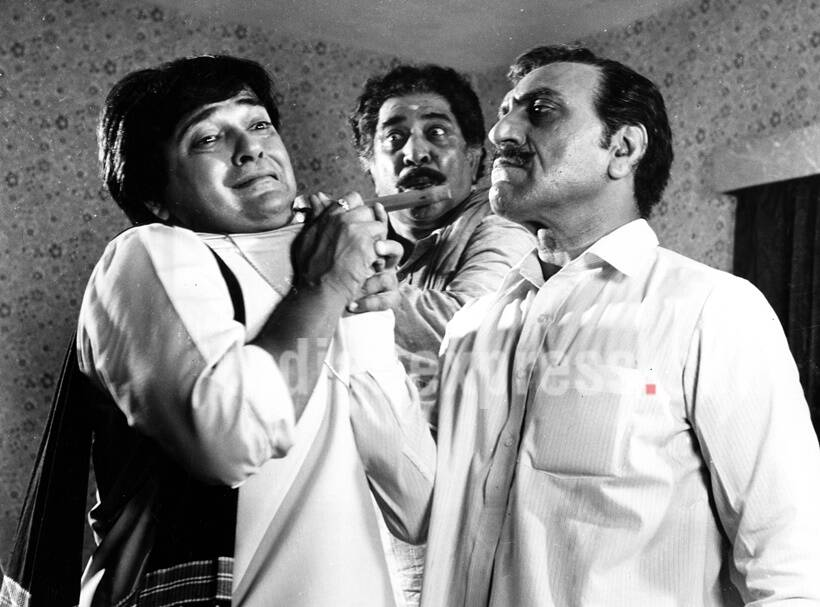 Film star Rakesh Bedi, Satyen Kappu and Amrish Puri. Express archive photo