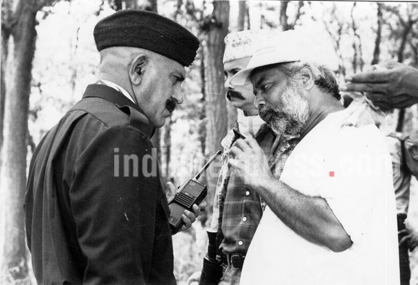 Film star Amrish Puri and N Chandra. Express archive photo