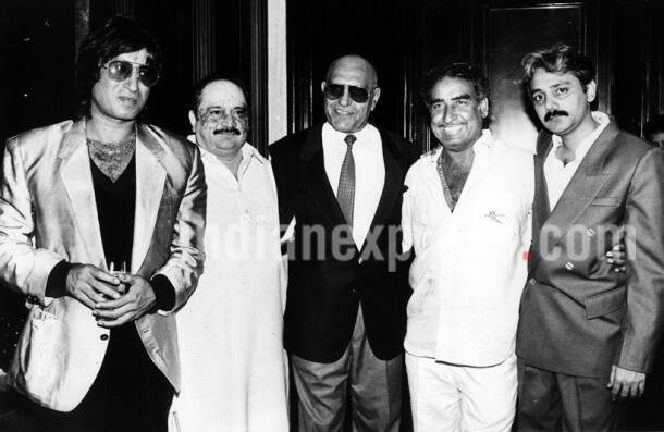 Film star Shakti Kapoor, Dinesh Patel, Amrish Puri, Veeru Devgan and others. Express archive photo by RD Rai