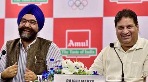 New Delhi: Rajeev Mehta, Secretary General, Indian Olympic  Association and R S Sodhi, MD, Gujarat Cooperative Milk Marketing Federation (Amul), the official Sponsor of the Indian contingent for the Rio 2016 Olympic, during a news conference in New Delhi on Wednesday.  PTI Photo by Kamal Kishore  (PTI6_29_2016_000053A)