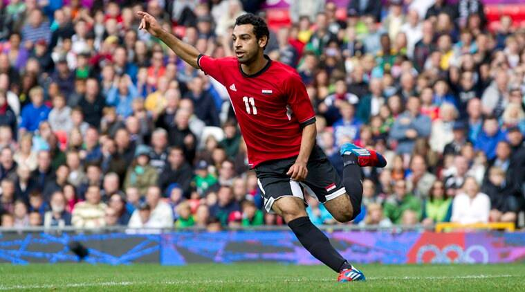 Egypt's Mohamed Salah celebrates his goal against New Zealand during their group C men's soccer match at the 2012 London Summer Olympics, Sunday, July 29, 2012 at Old Trafford Stadium in Manchester, England. (AP Photo/Jon Super)
