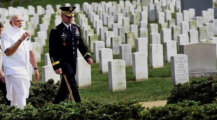 Narendra Modi, Arlington National Cemetery, Arlington cemetery, Modi in USA, Modi in Washington DC, Modi in America, American history, American civil war, American civil war soldiers