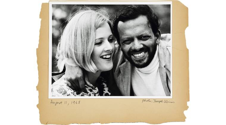 A page from FN Souza's scrapbook with a photograph of the artist and his third wife, Barbara Zinkant, taken in 1968.