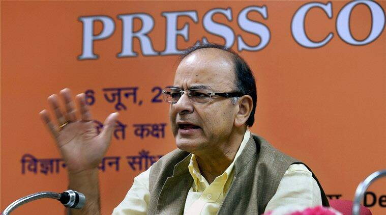 New Delhi: Union Finance Minister Arun Jaitley addresses the press conference after Quarterly Performance Review Meeting of the Chairman and Managing Directors/CEOs of Public Sector Banks (PSBs) & Financial Institutions, in New Delhi on Monday. PTI Photo by Atul Yadav (PTI6_6_2016_000062A)