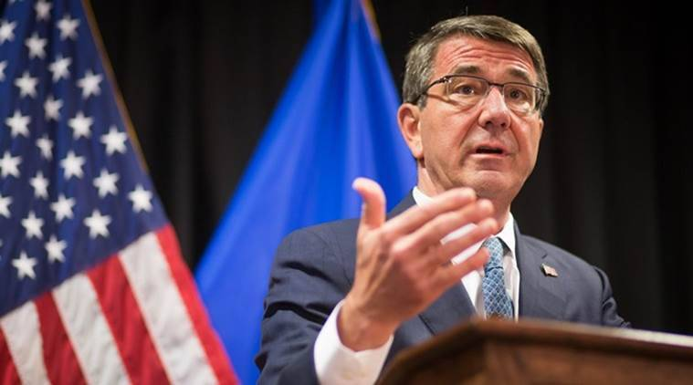 U.S. Secretary of Defense Ashton Carter delivers a statement to the press following the meeting of the alliance of Defense Ministers in the fight against the terrorist organization Islamic State (IS) in Stuttgart, Germany, Wednesday, May 4, 2016. (Christoph Schmidt/dpa via AP)